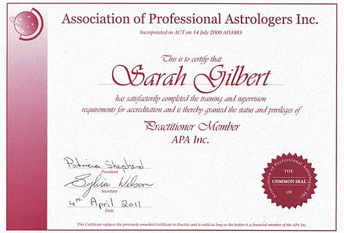 Astrology Qualifications APA Practioner Member