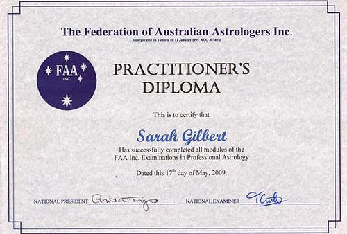 Astrology Qualifications FAA Practioner