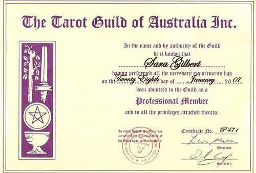Tarot Qualifications Member Tarot Guild of Australia