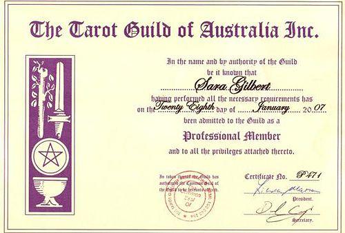 Tarot Qualifications Member Tarot Guild of Australia