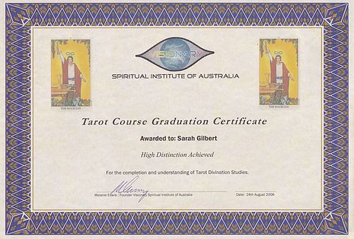Tarot Qualifications The Visionary Spiritual Institute Of Australia