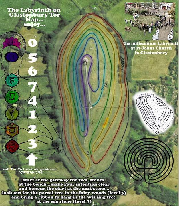 labyrinth map glastonbury tor